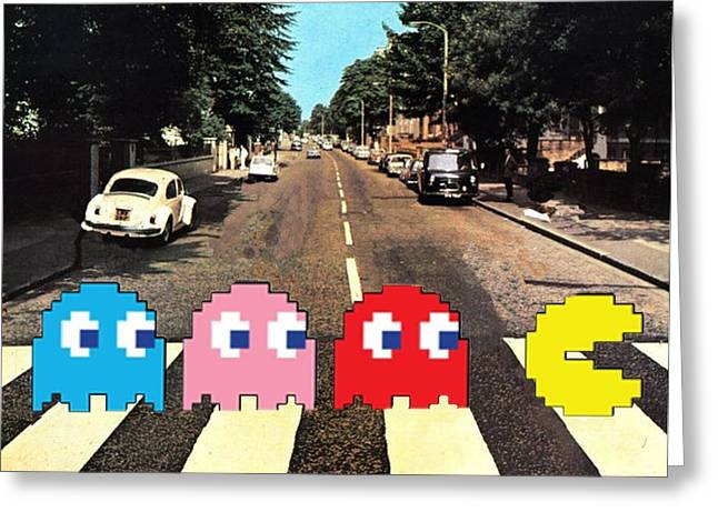 Funny Video Game Digital Art Greeting Cards - Paccy Road Greeting Card by Paul Van Scott