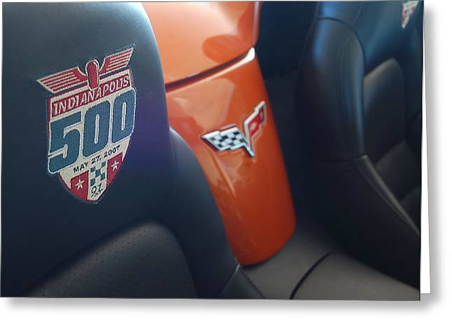 Indy Car Greeting Cards - Pace Ride - Indianapolis 500 Corvette Greeting Card by Steven Milner
