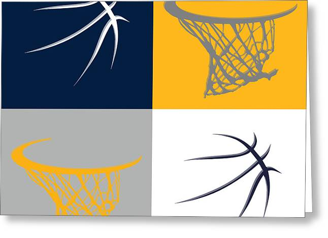 Dunk Greeting Cards - Pacers Ball And Hoop Greeting Card by Joe Hamilton