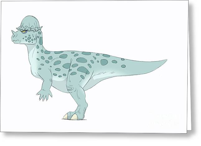 Paleontology Greeting Cards - Pachycephalosaurus Pencil Drawing Greeting Card by Alice Turner