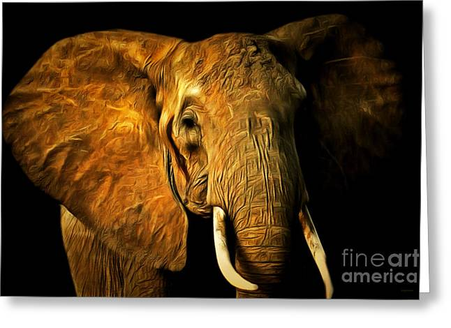 Happy Elephant Greeting Cards - Pachyderm 20150210brun Greeting Card by Wingsdomain Art and Photography