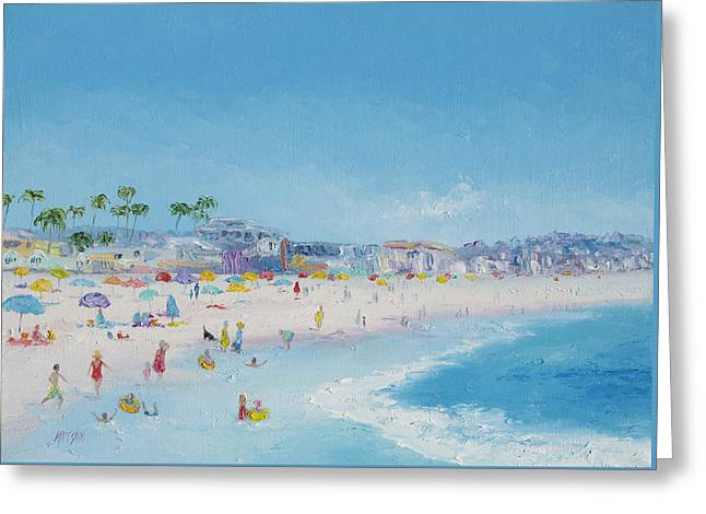 Park Scene Paintings Greeting Cards - Pacific Beach in San Diego Greeting Card by Jan Matson