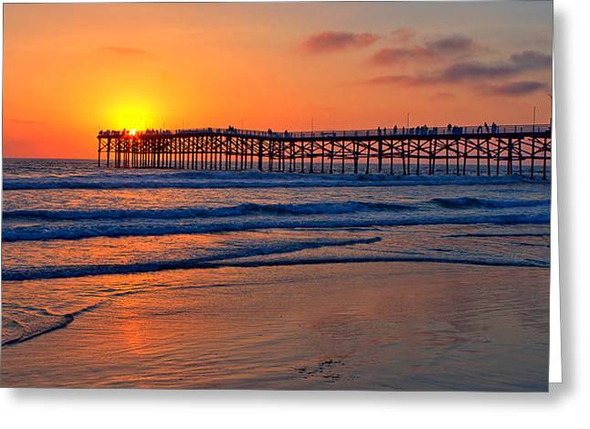 Hdr (high Dynamic Range) Greeting Cards - Pacific Beach Pier - EX Lrg - Widescreen Greeting Card by Peter Tellone