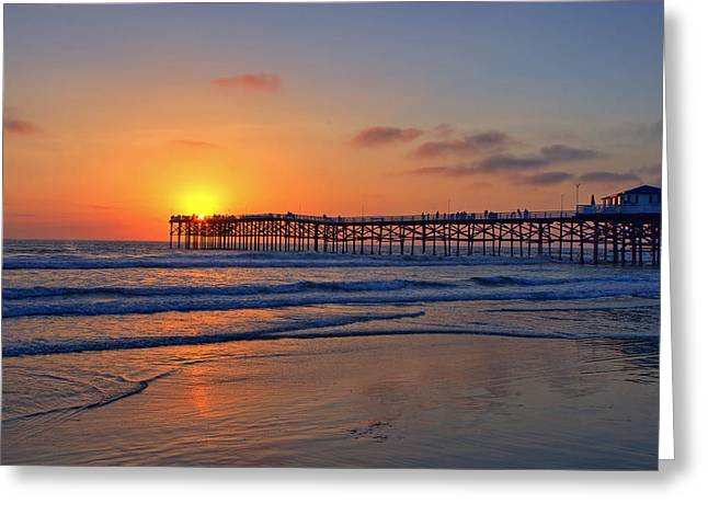 Wallpaper Greeting Cards - Pacific Beach Pier Sunset Greeting Card by Peter Tellone