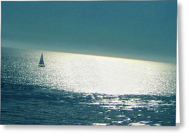 Blue Sailboats Photographs Greeting Cards - Pacific Greeting Card by Ben and Raisa Gertsberg