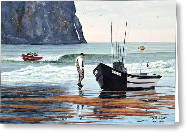 Point Lobos Greeting Cards - Pacific City Doryman Greeting Card by Bill Hudson