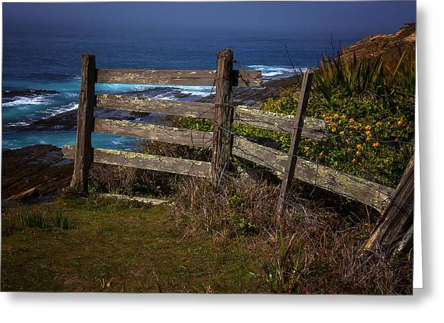 Obstacles Greeting Cards - Pacific Coast Fence Greeting Card by Garry Gay