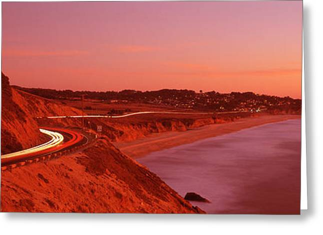 Headlight Greeting Cards - Pacific Coast Highway At Sunset Greeting Card by Panoramic Images