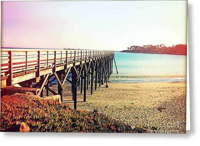 Tropical Oceans Greeting Cards - Pacific Coast Highway Pier View II Greeting Card by Chris Andruskiewicz
