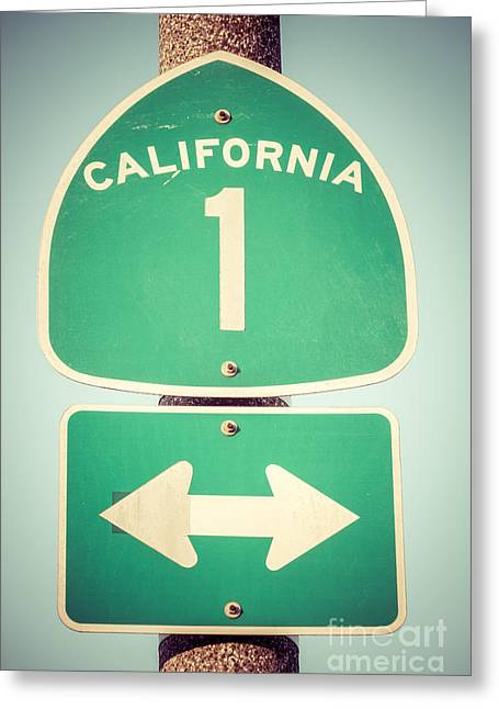 Highway Greeting Cards - Pacific Coast Highway Sign California State Route 1  Greeting Card by Paul Velgos