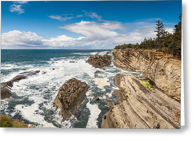 State Parks In Oregon Greeting Cards - Pacific coast panorama ocean cliff surf Oregon Greeting Card by William Fawcett