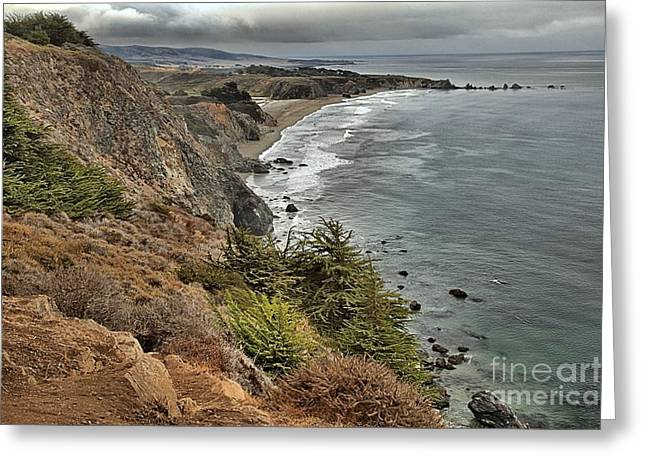 Big Sur California Greeting Cards - Pacific Coast Storm Clouds Greeting Card by Adam Jewell