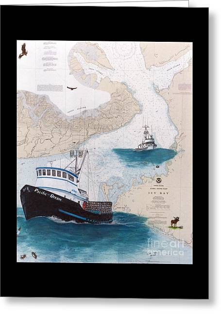 Prowler Paintings Greeting Cards - PACIFIC DREAM Crab Fishing Boat Nautical Chart Art Greeting Card by Cathy Peek