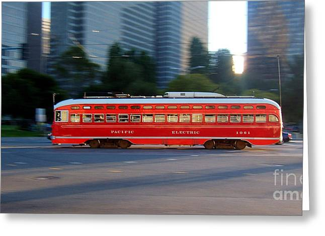 Pcc Greeting Cards - Pacific Electric Southern California 1061 F Line PCC Greeting Card by Wernher Krutein