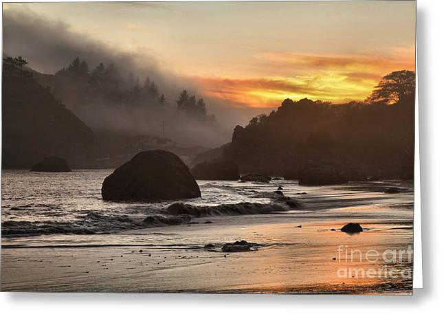 Pacific Fog And Fire Greeting Card by Adam Jewell