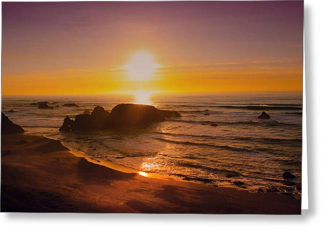 Ocean Art Photography Greeting Cards - Pacific Gold Greeting Card by Kandy Hurley
