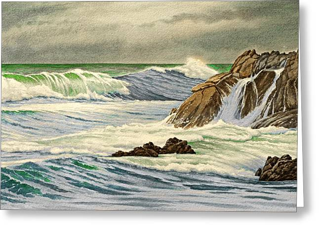 California Coast Greeting Cards - Pacific Grove Seascape Greeting Card by Paul Krapf