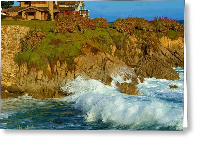 Big Sur Beach Greeting Cards - Pacific Grove Winter Surf Greeting Card by Jim Pavelle