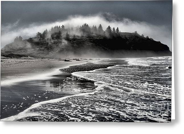 Foggy Beach Greeting Cards - Pacific Island Fog Greeting Card by Adam Jewell