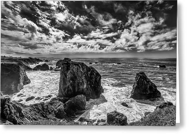 San Francisco Cali Greeting Cards - Pacific Majesty at Sea Wide Angle Photograph in Sonoma California Greeting Card by Dave Gordon