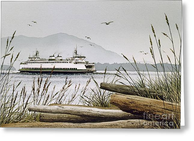 Artist James Williamson Maritime Print Greeting Cards - Pacific Northwest Ferry Greeting Card by James Williamson