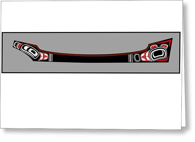 Canoe Drawings Greeting Cards - Pacific Northwest Native Canoe Greeting Card by Fred Croydon