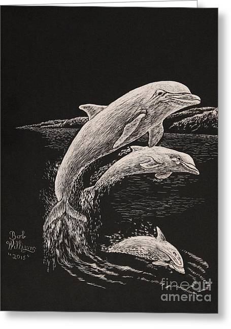 Ocean Mammals Drawings Greeting Cards - Pacific Ocean Acrobats  Greeting Card by Bob Williams