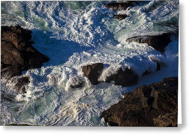Gorgeous Greeting Cards - Pacific Ocean Against Rocks Greeting Card by Garry Gay