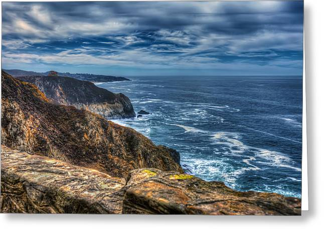 Hwy 1 Greeting Cards - Pacific Ocean and Cliffs at Devils Slide in San Mateo County California 2 Greeting Card by Jennifer Rondinelli Reilly