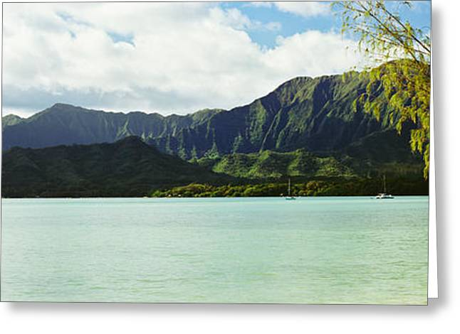 Craters Greeting Cards - Pacific Ocean With Mountain Range Greeting Card by Panoramic Images