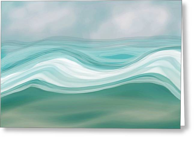 Blue Green Wave Greeting Cards - Pacific Paradise Greeting Card by Bonnie Bruno