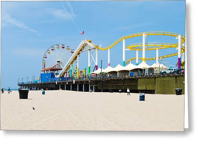 Sand Art Greeting Cards - Pacific Park, Santa Monica Pier, Santa Greeting Card by Panoramic Images
