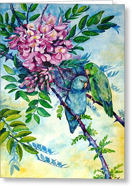 Best Present Greeting Cards - Pacific Parrotlets Greeting Card by Zaira Dzhaubaeva