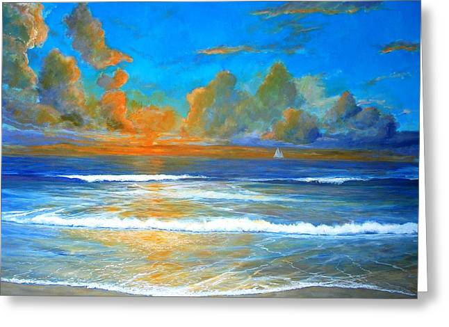 Pacific Reflections Greeting Card by Keith Wilkie
