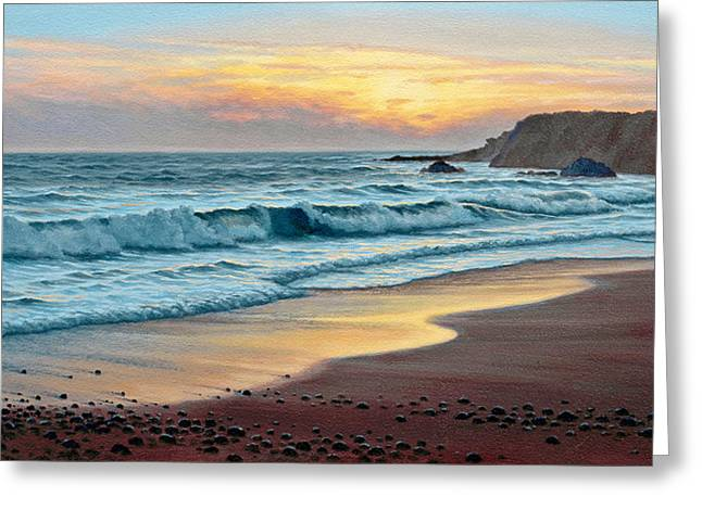 Sunset Seascape Paintings Greeting Cards - Pacific Sunset Greeting Card by Paul Krapf