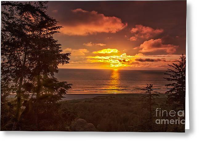 Haybales Greeting Cards - Pacific Sunset Greeting Card by Robert Bales