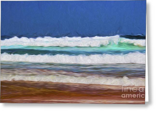 Blue Green Wave Digital Greeting Cards - Pacific surf Greeting Card by Sheila Smart