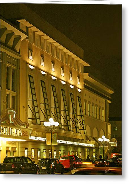 Contemporary Night Scape Greeting Cards - Pacific Theatres In San Diego At Night Greeting Card by Ben and Raisa Gertsberg