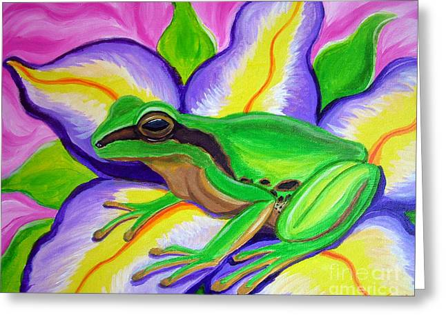 Pacific Tree Frog And Flower Greeting Card by Nick Gustafson
