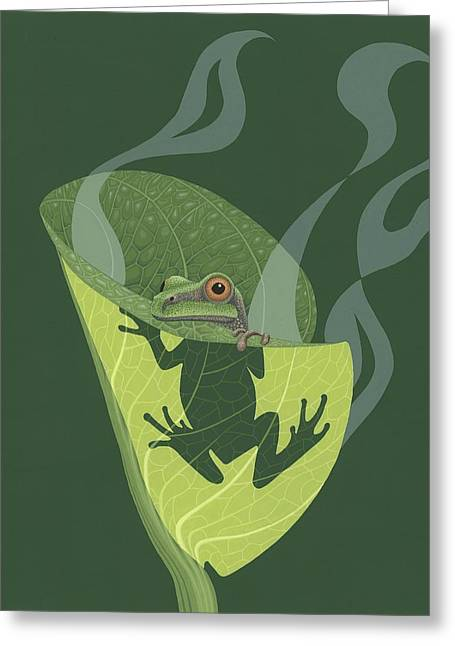 Illustration Greeting Cards - Pacific Tree Frog in Skunk Cabbage Greeting Card by Nathan Marcy
