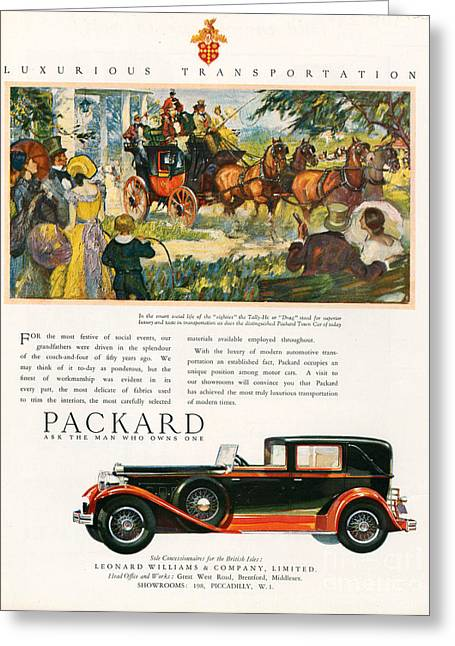 American Automobiles Greeting Cards - Packard 1930 1930s Usa Cc Cars Horses Greeting Card by The Advertising Archives