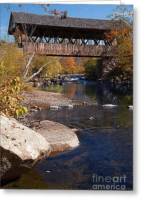 Fall Photos Greeting Cards - PACKARD HILL BRIDGE Lebanon New Hampshire Greeting Card by Edward Fielding