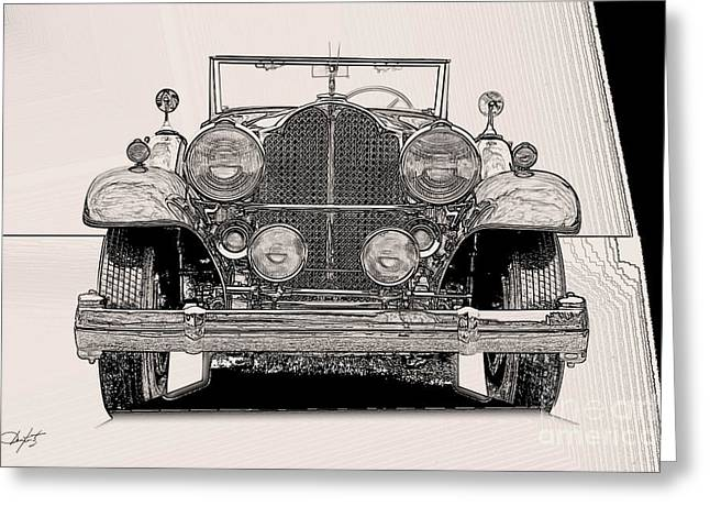 Pen And Ink Drawing Photographs Greeting Cards - Packard in Pen and Ink Greeting Card by Dave Koontz