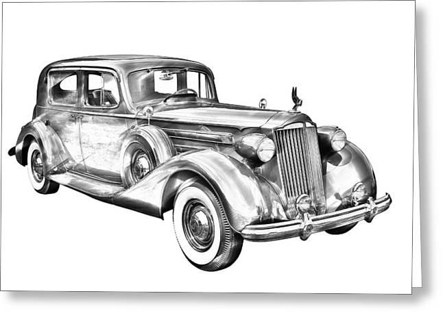 Wealth Digital Art Greeting Cards - Packard Luxury Antique Car Illustration Greeting Card by Keith Webber Jr