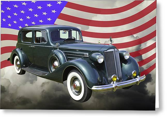 Wealth Digital Art Greeting Cards - Packard Luxury Car And American Flag Greeting Card by Keith Webber Jr