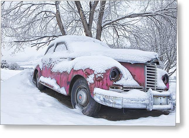 Snow Scene Landscape Greeting Cards - Packard Greeting Card by Theresa Tahara