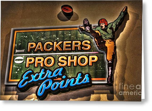 Lambeau Field Greeting Cards - Packer Pro Shop Greeting Card by Tommy Anderson