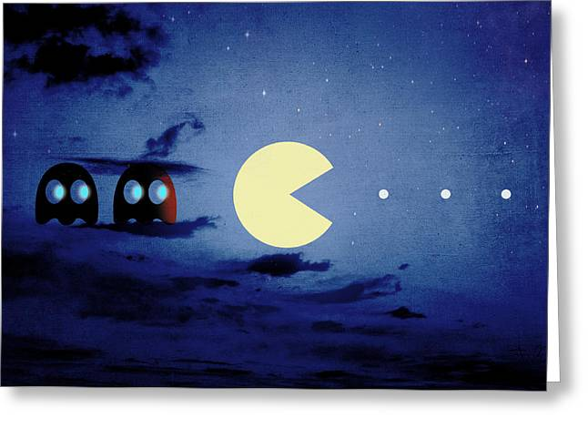 Pacman Night-scape Greeting Card by Filippo B