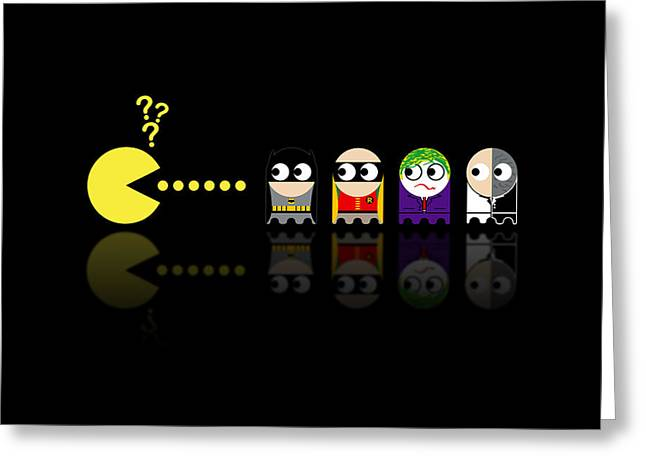 Game Greeting Cards - Pacman Batman Greeting Card by NicoWriter
