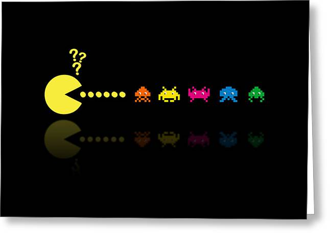 Look A Like Greeting Cards - Pacman Invaders Greeting Card by NicoWriter
